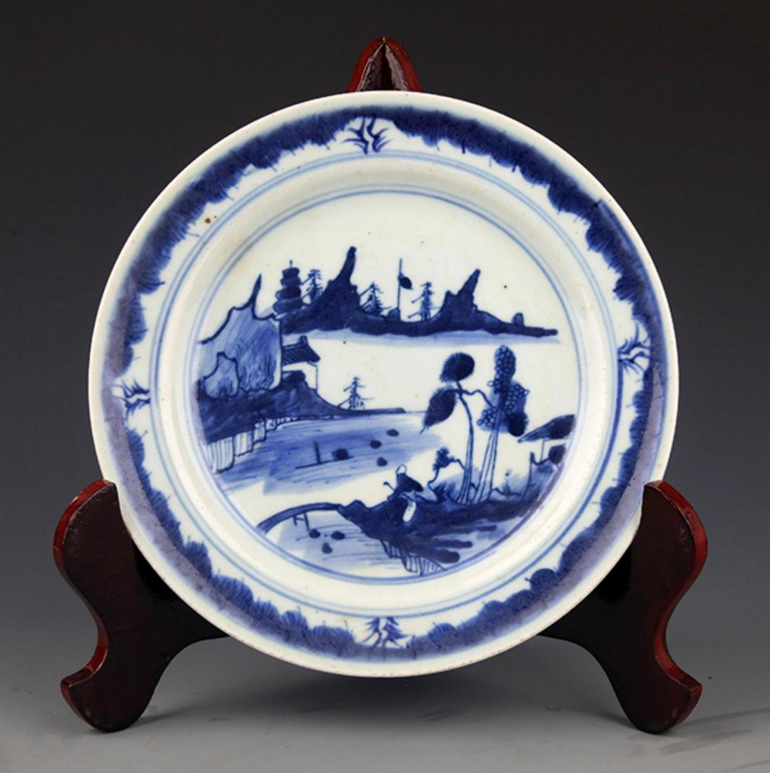 TWO FINELY PAINTED BLUE AND WHITE PORCELAIN PLATE - 8