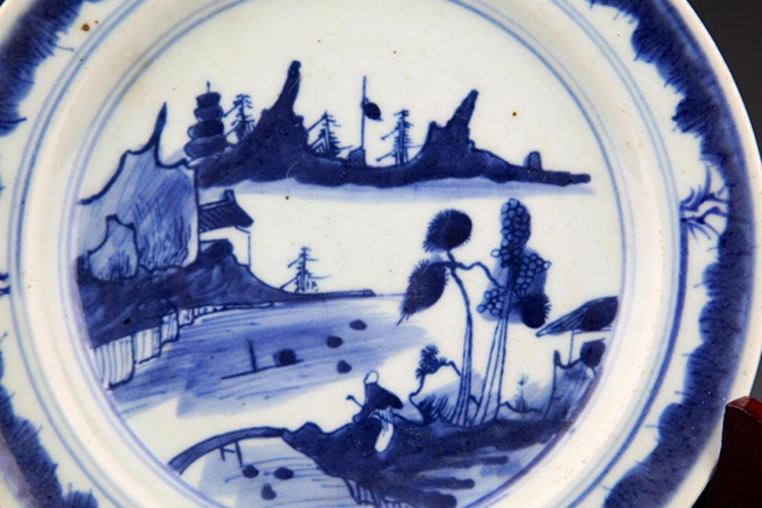 TWO FINELY PAINTED BLUE AND WHITE PORCELAIN PLATE - 9