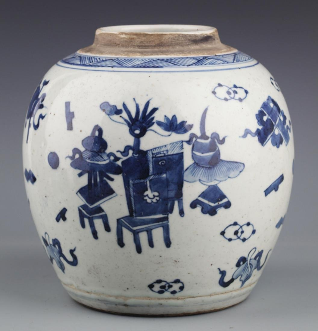 A PAINTED BLUE AN WHITE PORCELAIN JAR