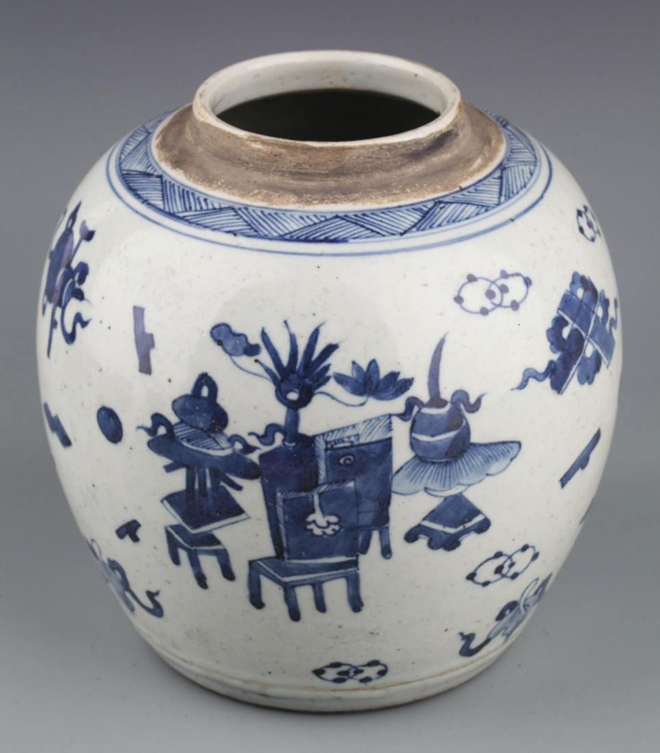 A PAINTED BLUE AN WHITE PORCELAIN JAR - 2