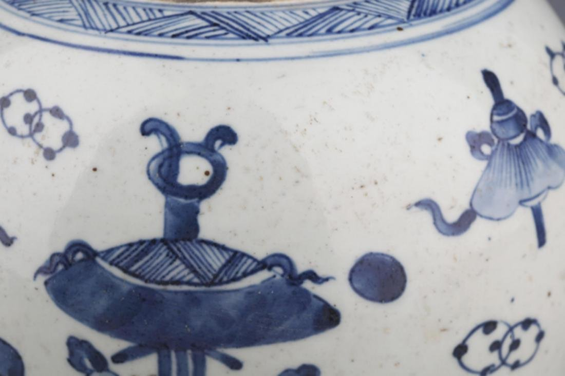 A PAINTED BLUE AN WHITE PORCELAIN JAR - 4
