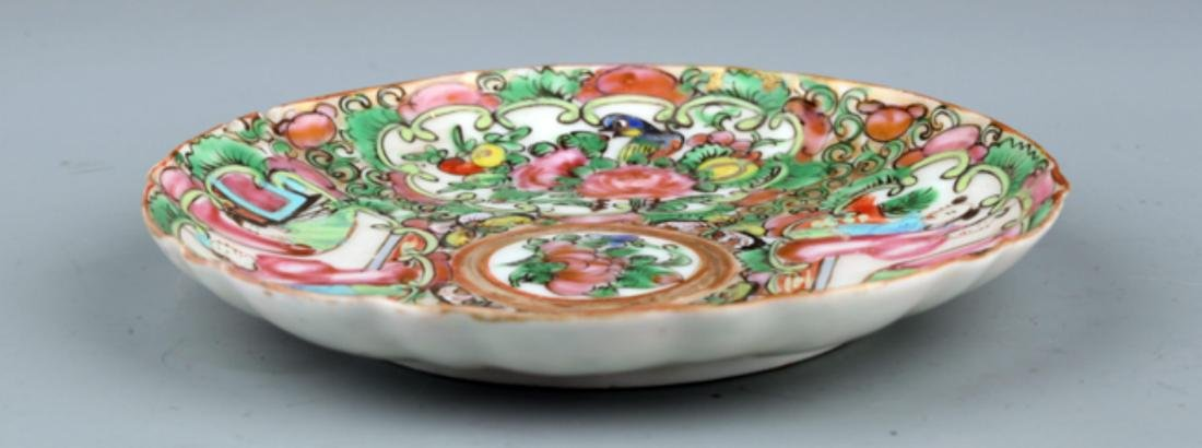 A FINE FAMILLE ROSE FLOWER PAINTING PORCELAIN PLATE - 3