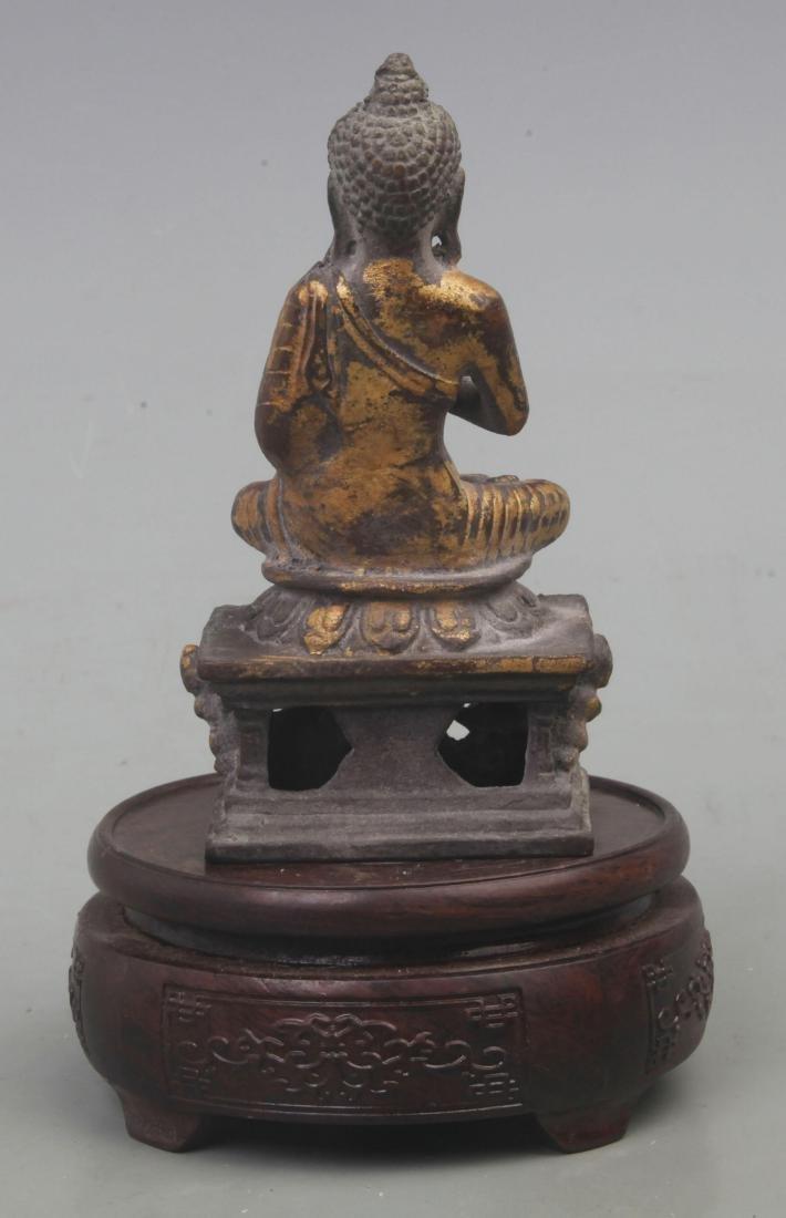 A FINE GILT BRONZE BAO MOONLIGHT BUDDHA - 4