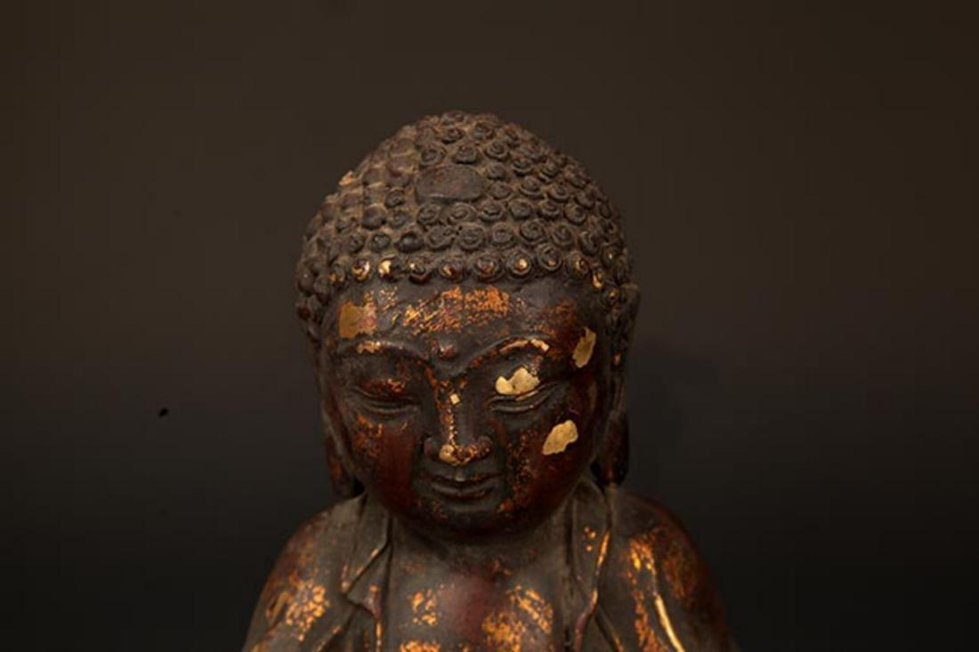 A FINELY CARVED CAST IRON TATHAGATA BUDDHA FIGURE - 2
