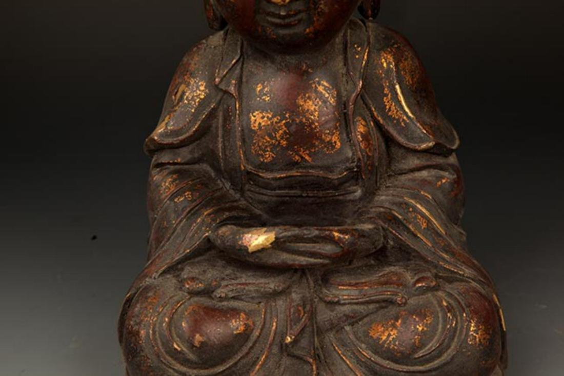 A FINELY CARVED CAST IRON TATHAGATA BUDDHA FIGURE - 3
