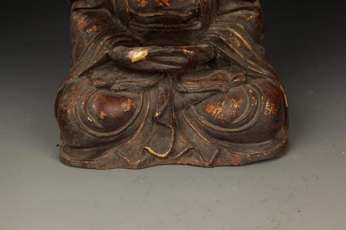 A FINELY CARVED CAST IRON TATHAGATA BUDDHA FIGURE - 4