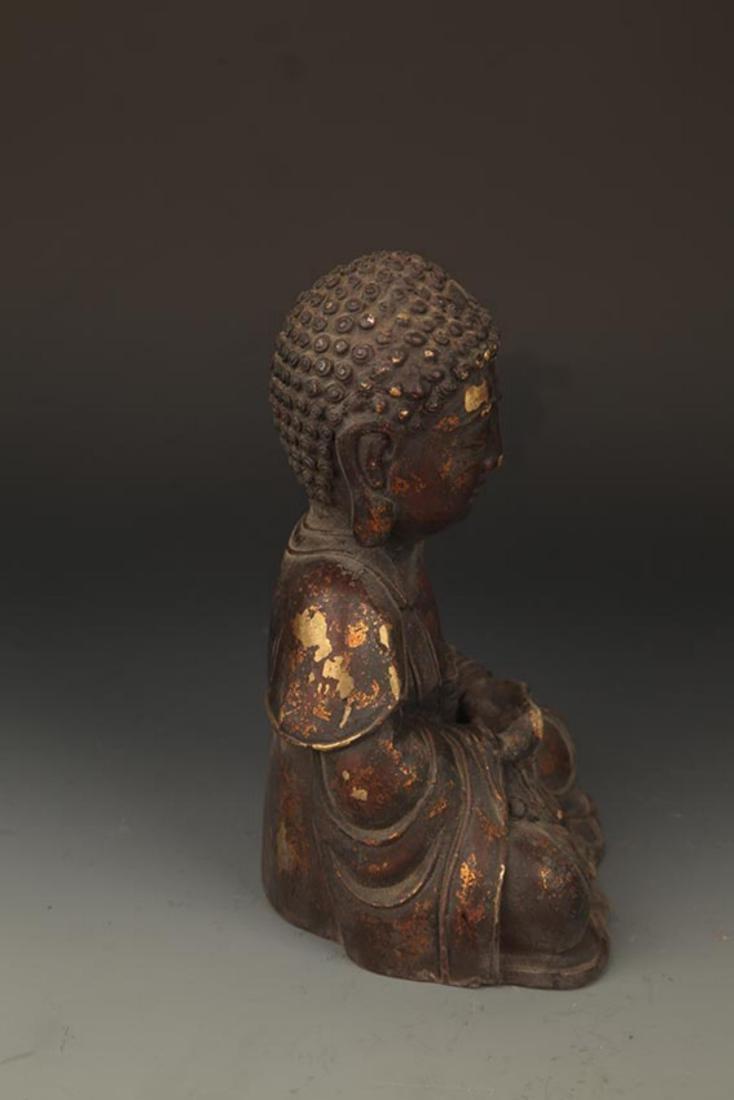 A FINELY CARVED CAST IRON TATHAGATA BUDDHA FIGURE - 5