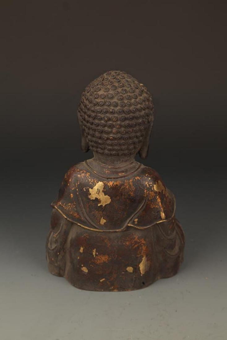 A FINELY CARVED CAST IRON TATHAGATA BUDDHA FIGURE - 6