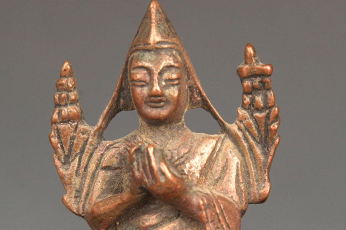 A FINELY CARVED BRONZE ZONGKABA FIGURE - 2