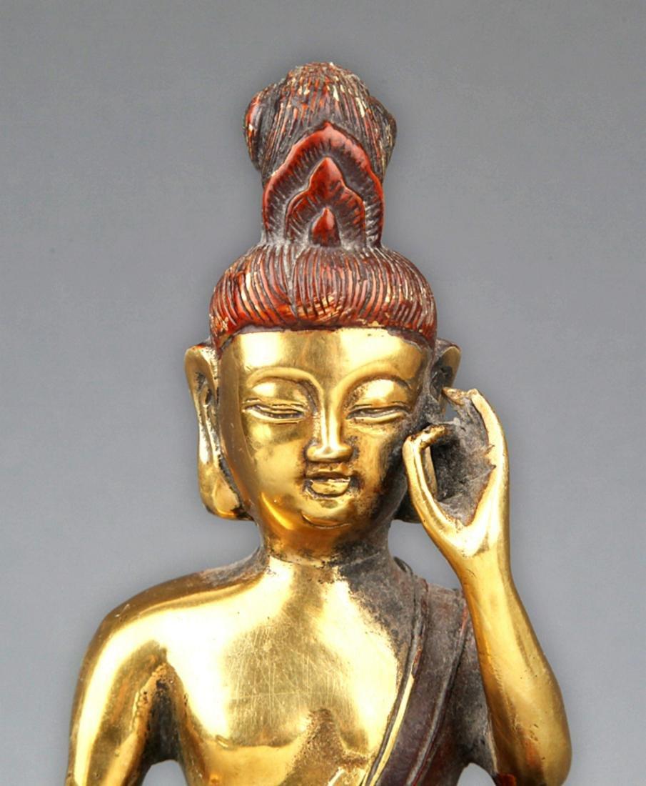 A COLORED AND GILT BRONZE BUDDHA - 2