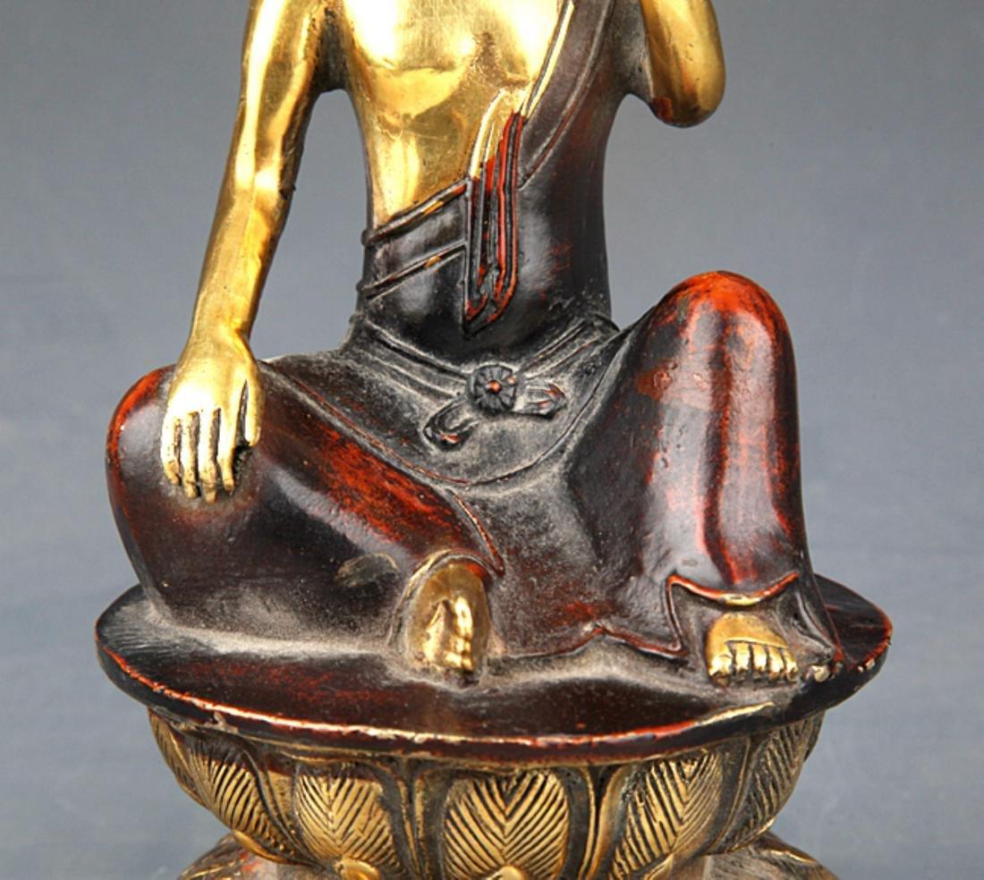 A COLORED AND GILT BRONZE BUDDHA - 3