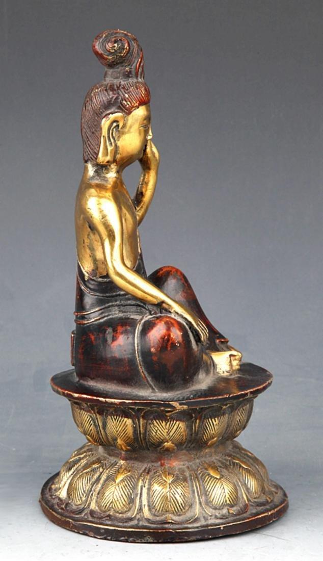 A COLORED AND GILT BRONZE BUDDHA - 5