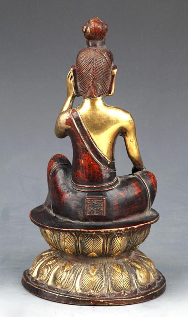 A COLORED AND GILT BRONZE BUDDHA - 6