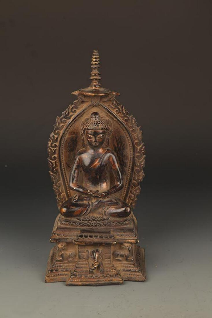 A FINELY MADE BRONZE TATHAGATA BUDDHA FIGURE WITH HALO