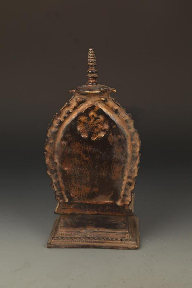 A FINELY MADE BRONZE TATHAGATA BUDDHA FIGURE WITH HALO - 7