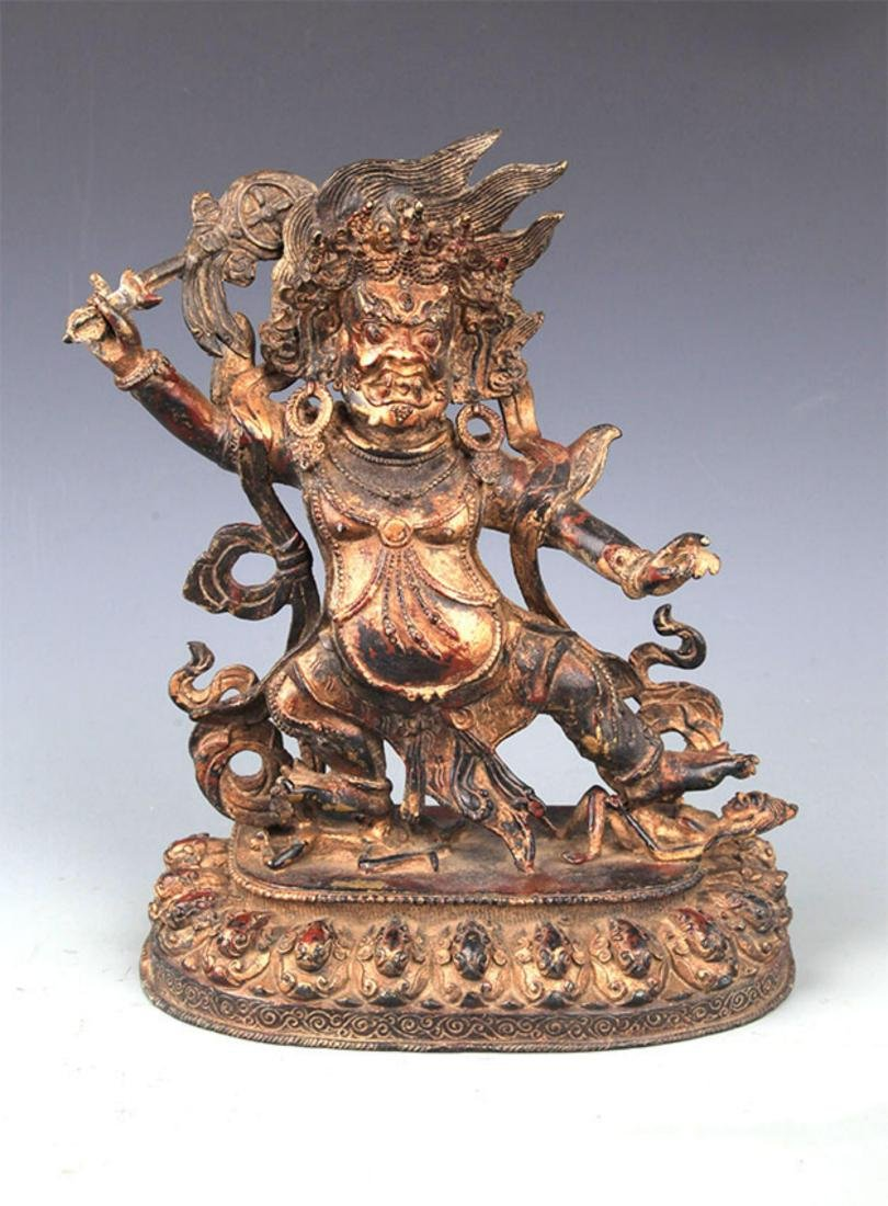 A FINELY CARVED YAMANTAKA BRONZE STATUE