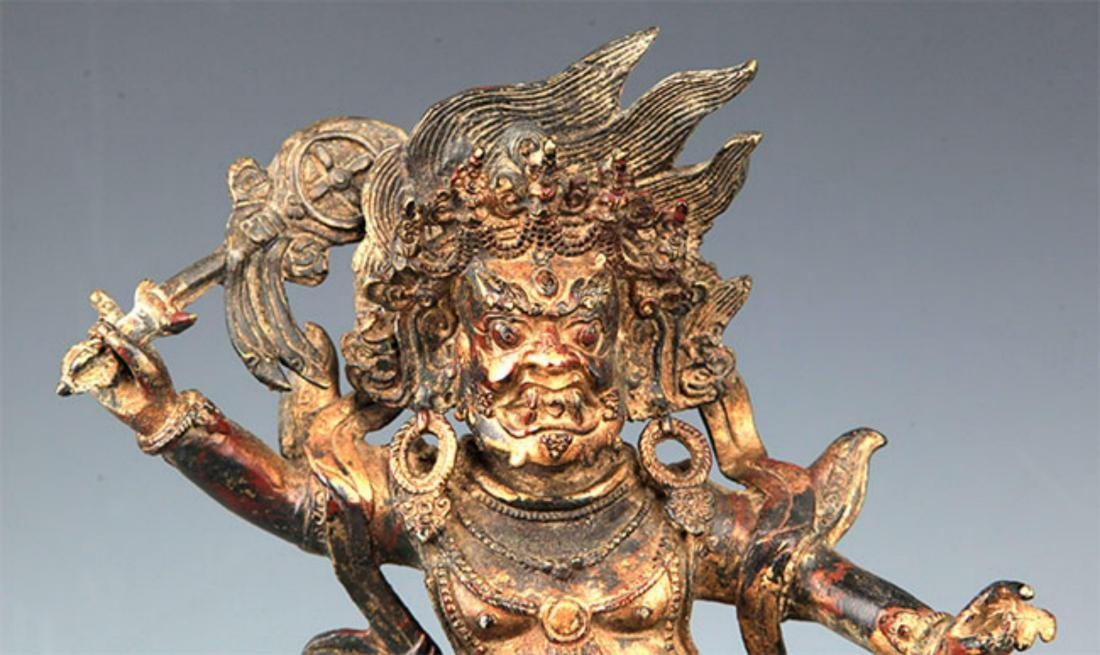 A FINELY CARVED YAMANTAKA BRONZE STATUE - 2