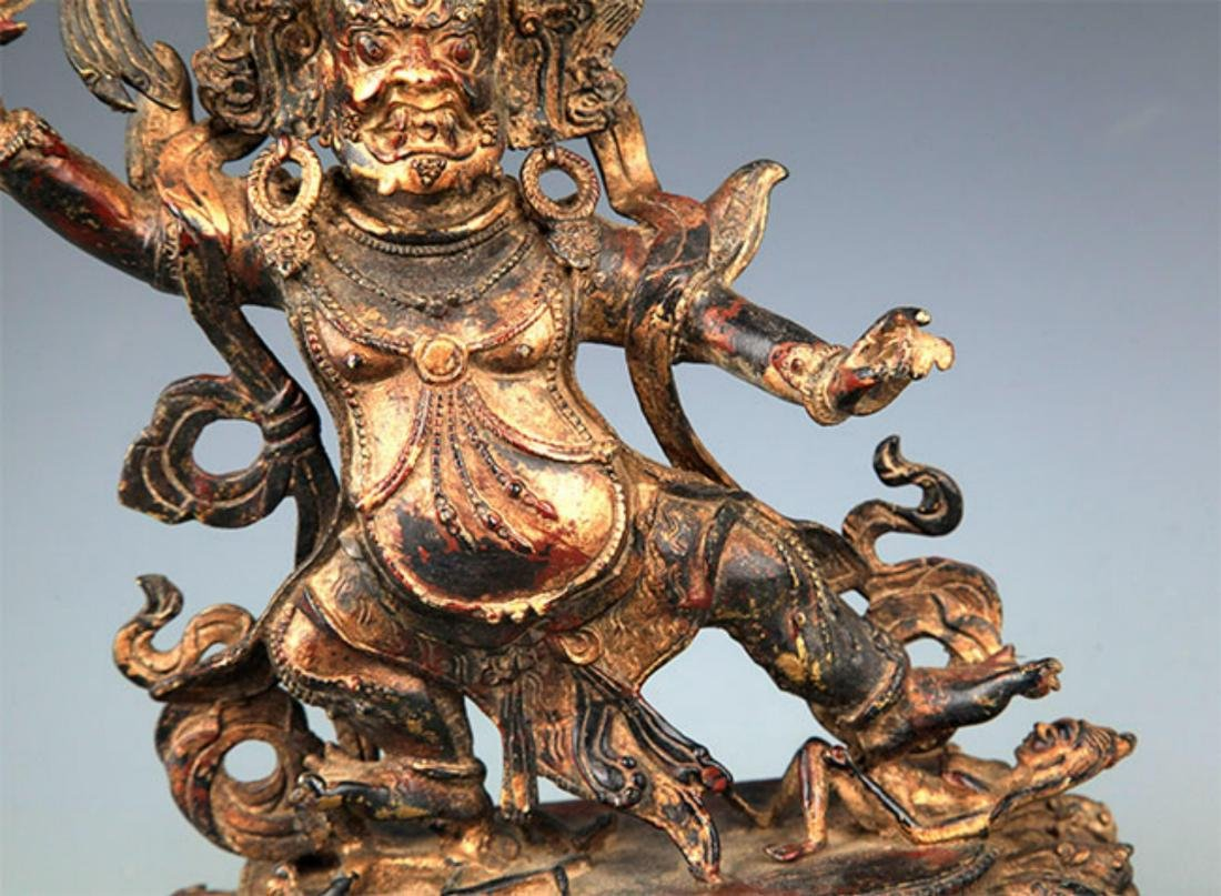 A FINELY CARVED YAMANTAKA BRONZE STATUE - 3