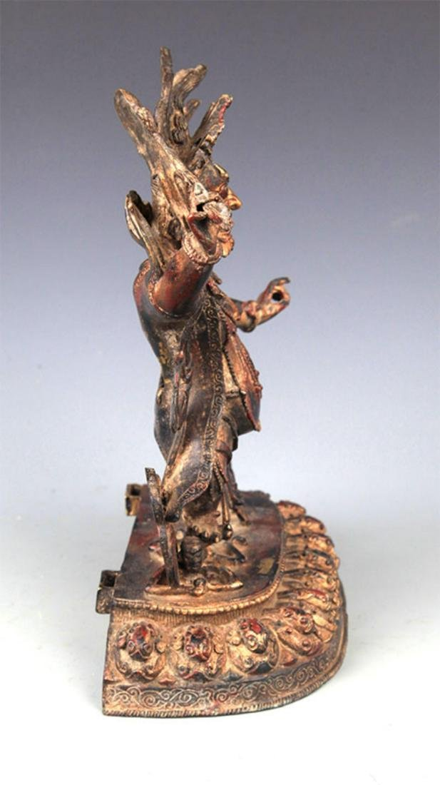 A FINELY CARVED YAMANTAKA BRONZE STATUE - 5