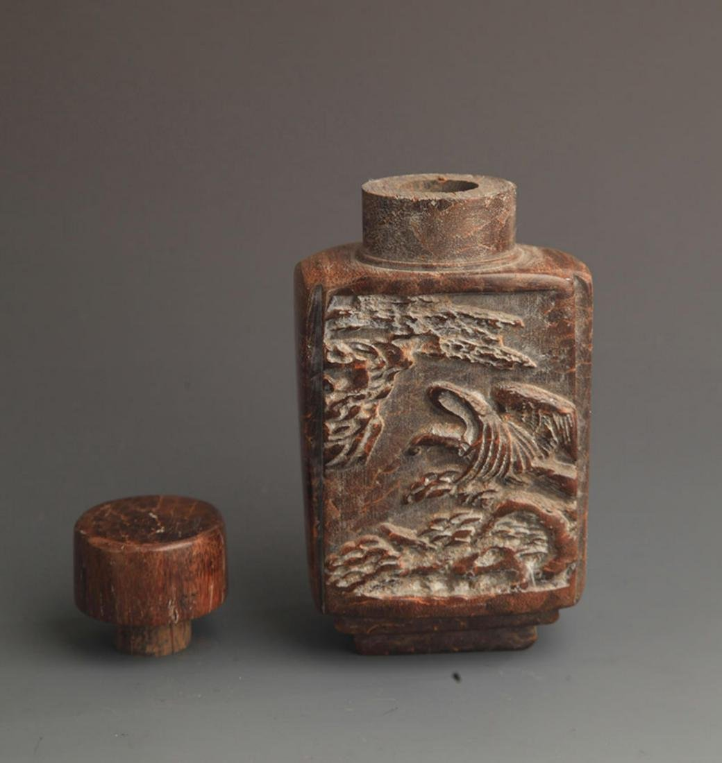 A FINE DRAGON CARVING WOOD MEDICINE BOTTLE - 3