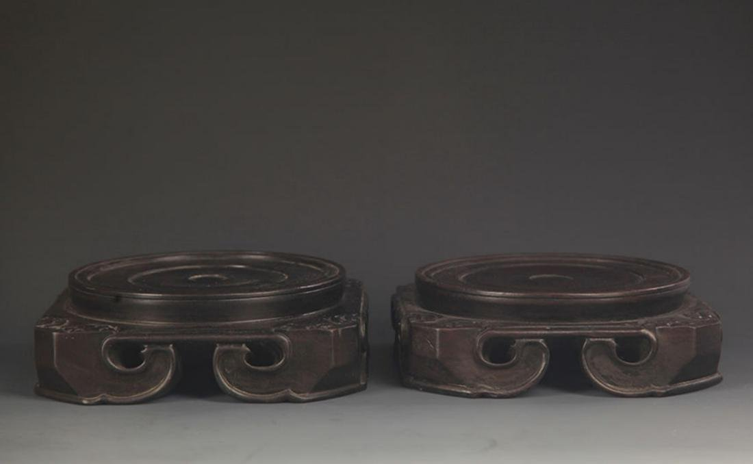 PAIR OF FINELY MADE SANDALWOOD BASE