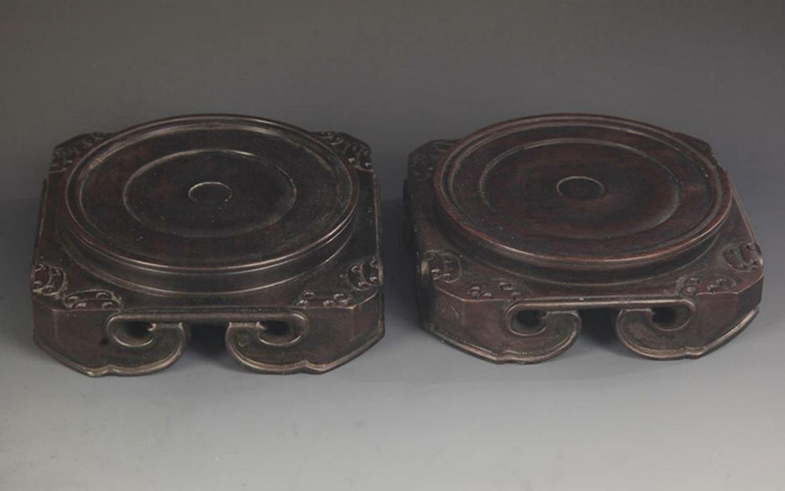 PAIR OF FINELY MADE SANDALWOOD BASE - 2