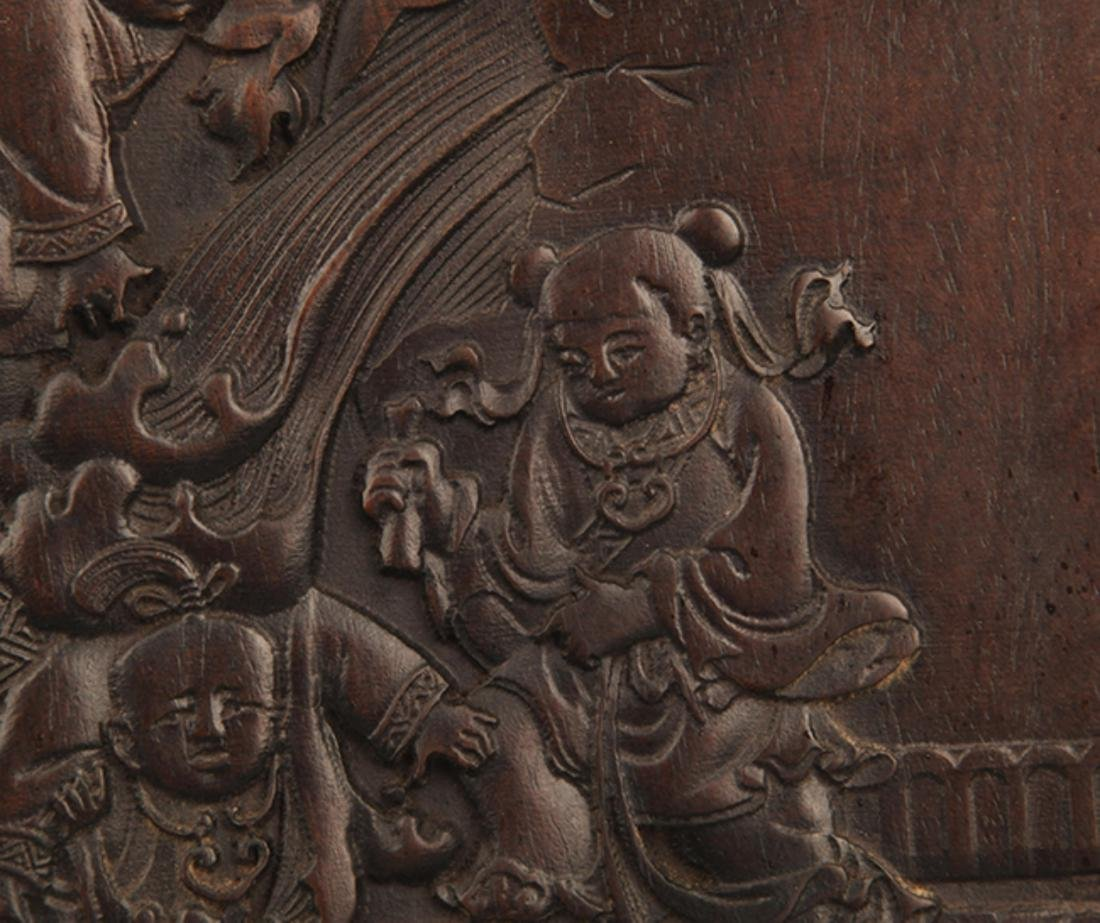 A FINELY CARVED ZI TAN PLATE - 2