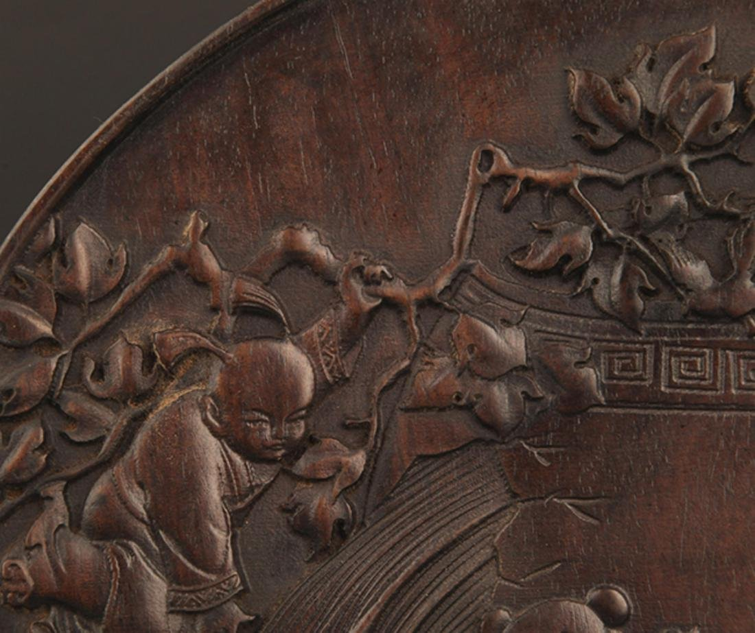 A FINELY CARVED ZI TAN PLATE - 3