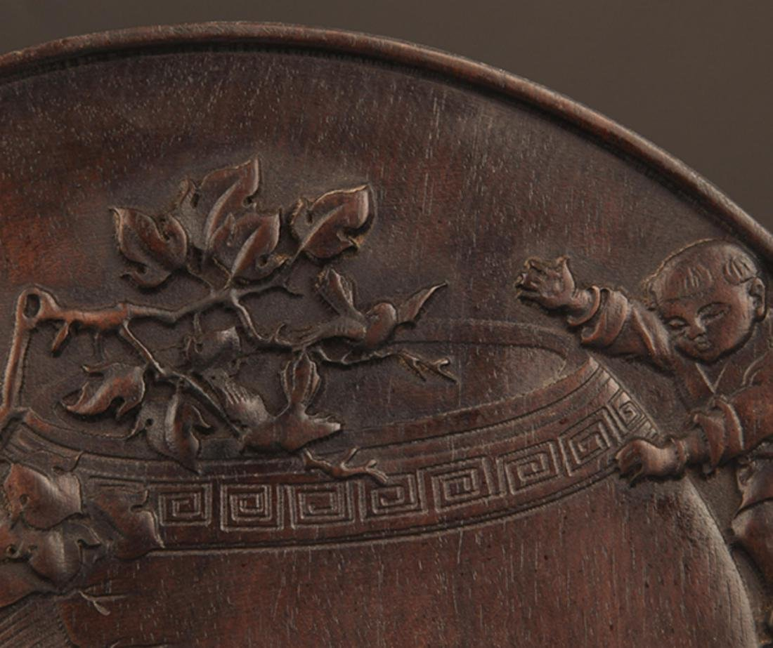 A FINELY CARVED ZI TAN PLATE - 4