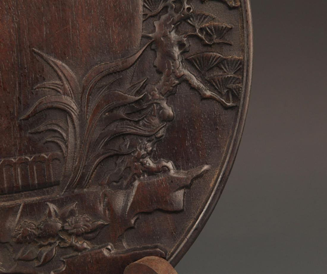 A FINELY CARVED ZI TAN PLATE - 5