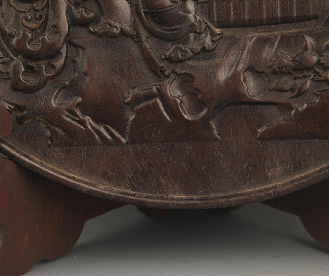 A FINELY CARVED ZI TAN PLATE - 6