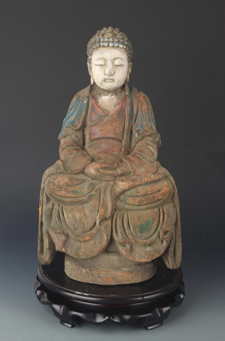 COLORED PAINTED WOODEN PHARMACIST BUDDHA STATUE FIGURE