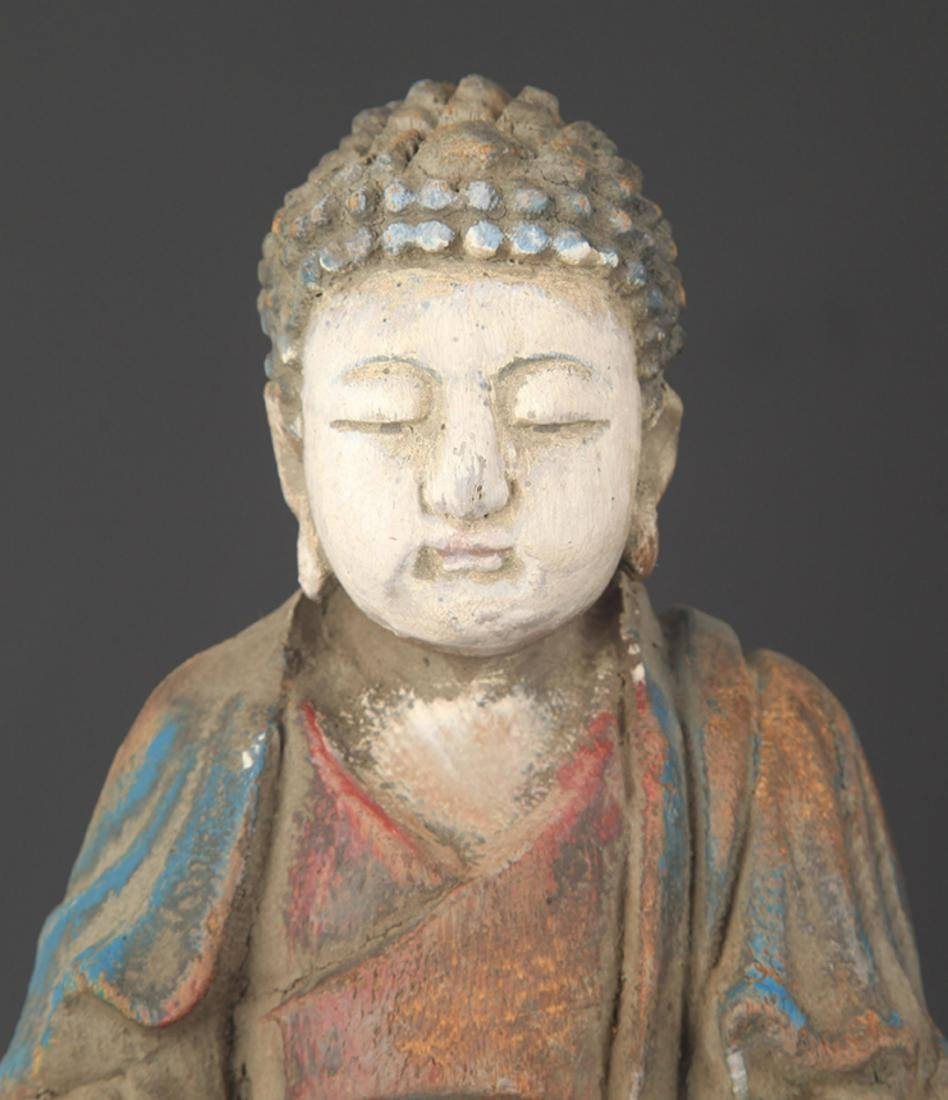 COLORED PAINTED WOODEN PHARMACIST BUDDHA STATUE FIGURE - 2
