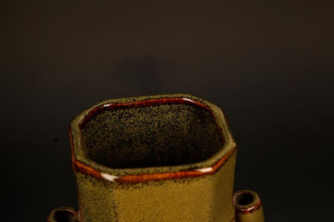 A TEA COLOR GLAZED PORCELAIN BOTTLE - 2