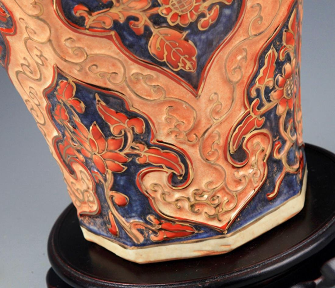 A ENAMEL COLOR PAINTED PORCELAIN JAR WITH COVER - 5