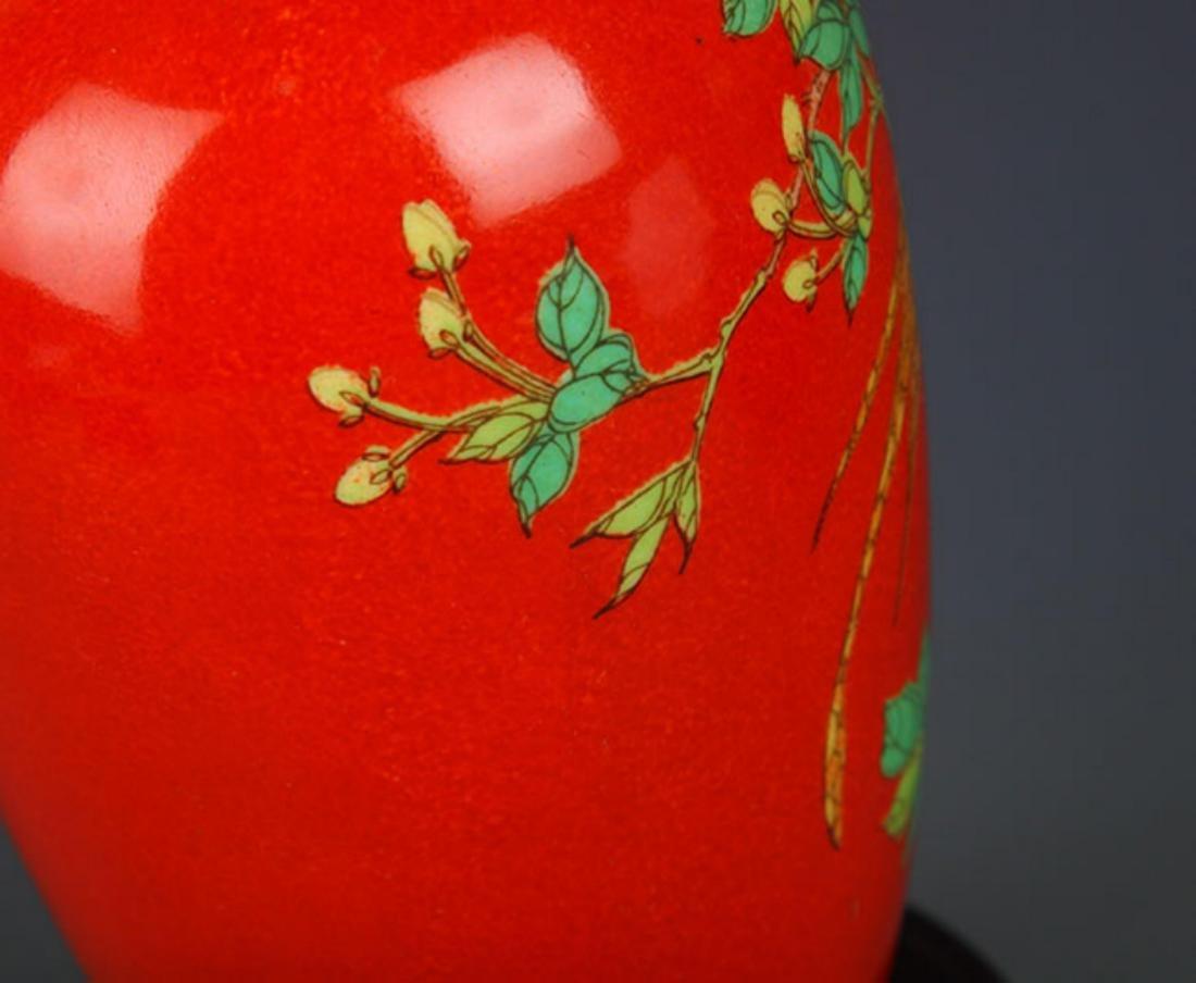 "A ""JU REN TANG"" MARK RED COLOR GLAZED MAGPIE BOTTLE - 7"