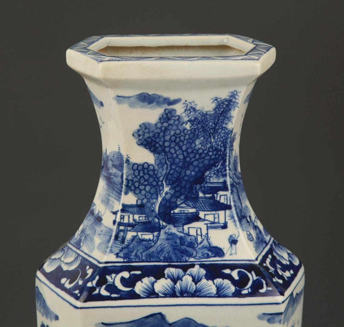 BLUE AND WHITE LANDSCAPING SQUARE VASE - 2