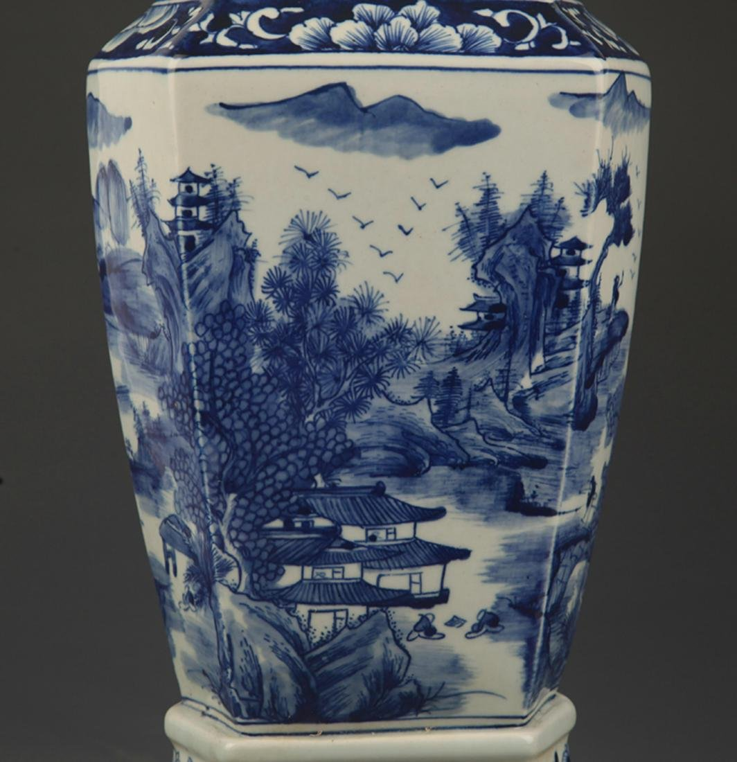 BLUE AND WHITE LANDSCAPING SQUARE VASE - 3