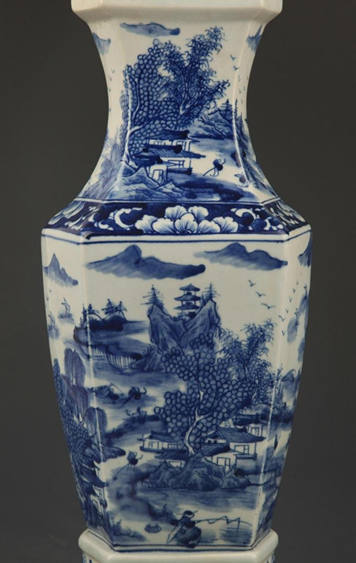 BLUE AND WHITE LANDSCAPING SQUARE VASE - 4