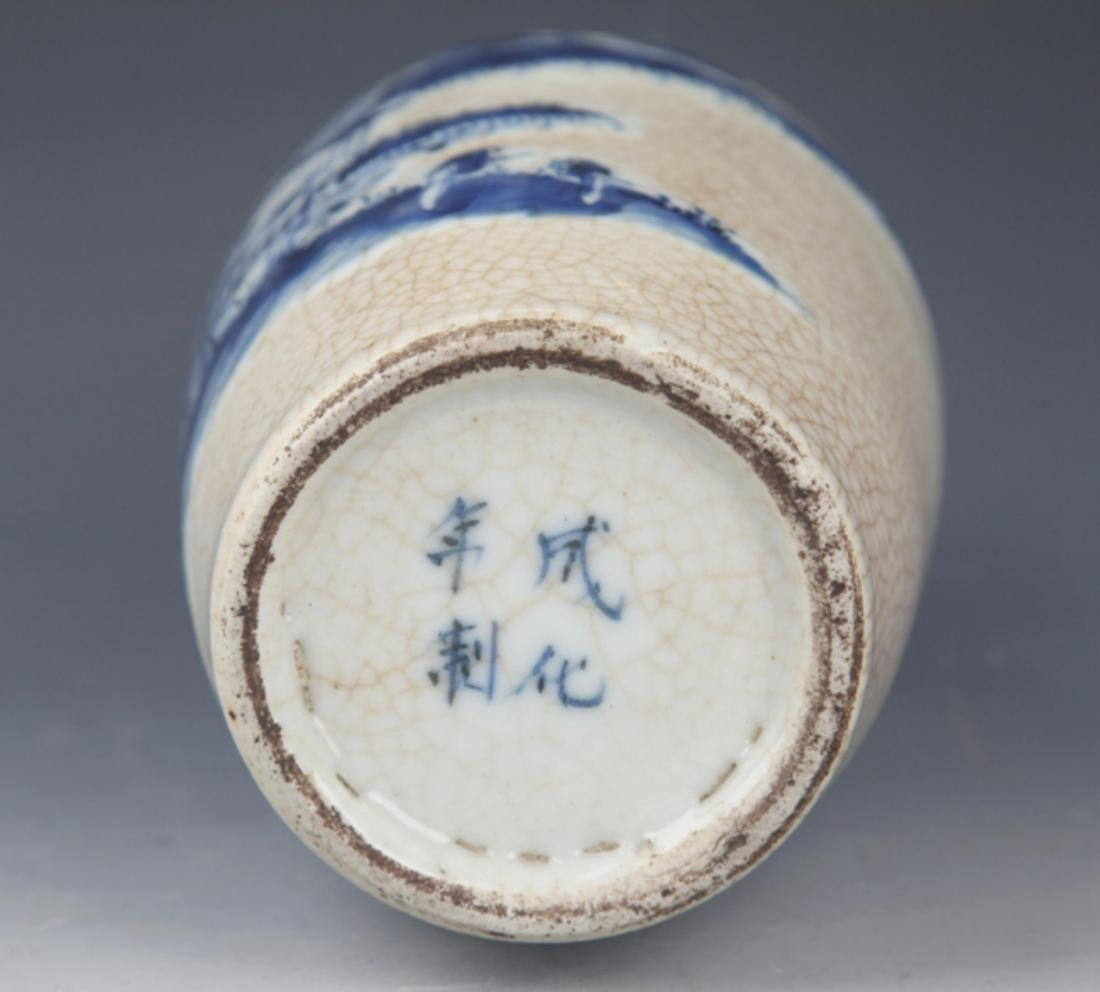 A FINE GE-TYPE GLAZED BLUE AND WHITE PORCELAIN JAR - 6
