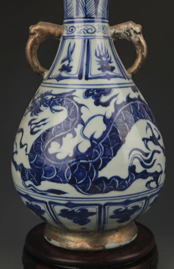 BLUE AND WHITE DRAGON PAINTED YU HU CHUN STYLE VASE - 3