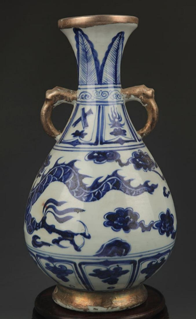 BLUE AND WHITE DRAGON PAINTED YU HU CHUN STYLE VASE - 4