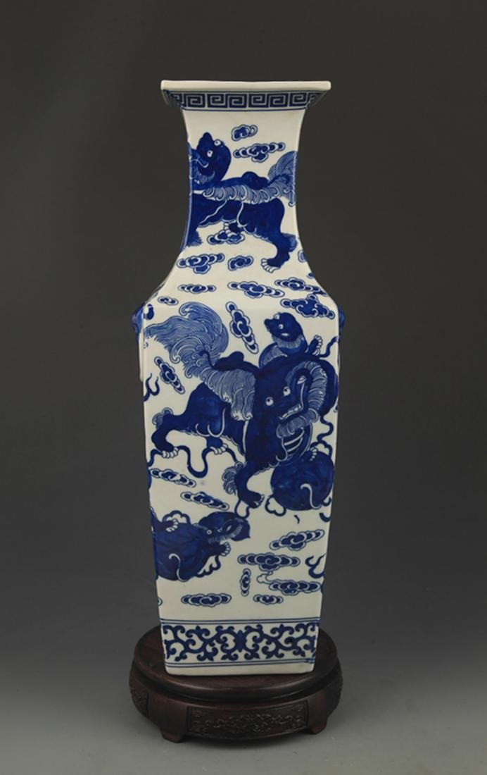 BLUE AND WHITE LION PLAYING PATTERN VASE - 4