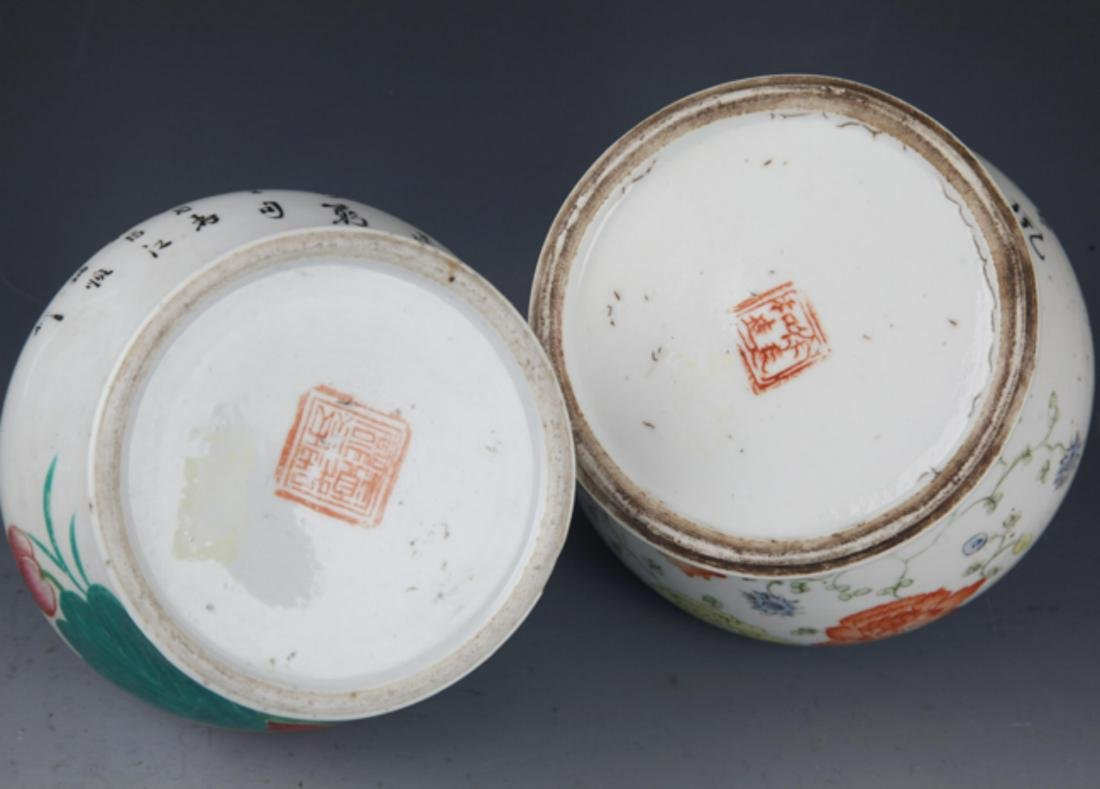 A GROUP OF THREE FINELY PAINTED PORCELAIN JAR - 9