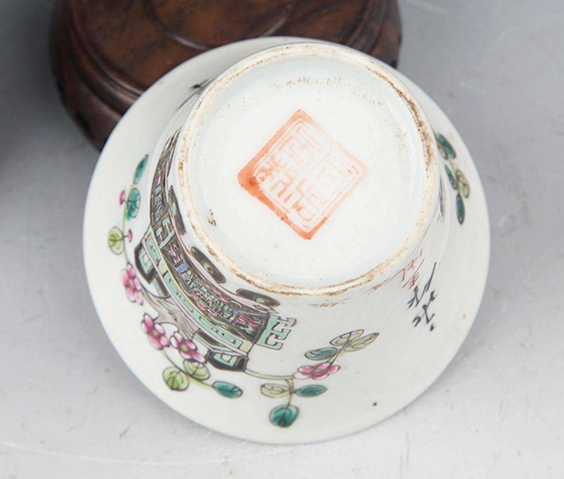 A PAIR OF FINELY PAINTED PORCELAIN CUP - 4