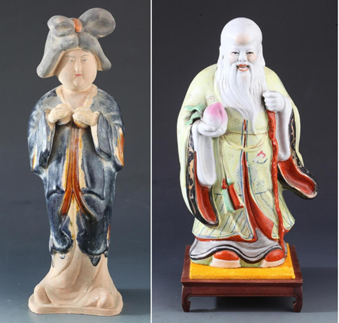 SAN CAI COLOR FEMALE FIGURE AND PORCELAIN LONGEVITY GOD