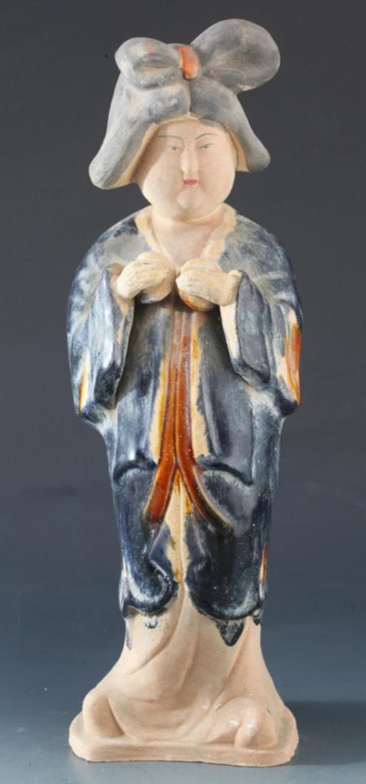 SAN CAI COLOR FEMALE FIGURE AND PORCELAIN LONGEVITY GOD - 2