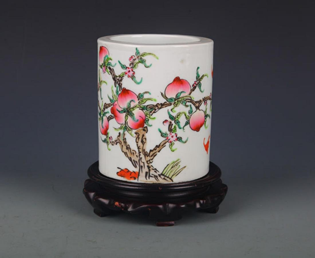 "A ""JU REN TANG ZHI"" FAMILLE ROSE BRUSH POT"