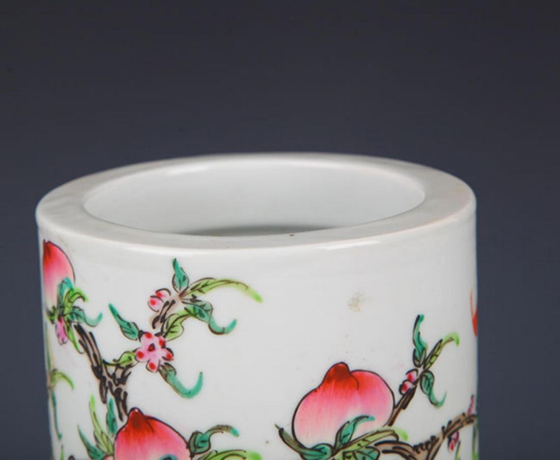 "A ""JU REN TANG ZHI"" FAMILLE ROSE BRUSH POT - 2"