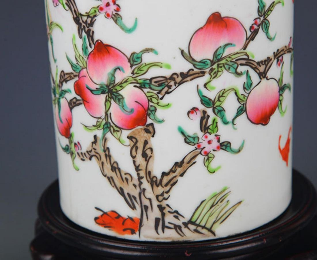 "A ""JU REN TANG ZHI"" FAMILLE ROSE BRUSH POT - 3"